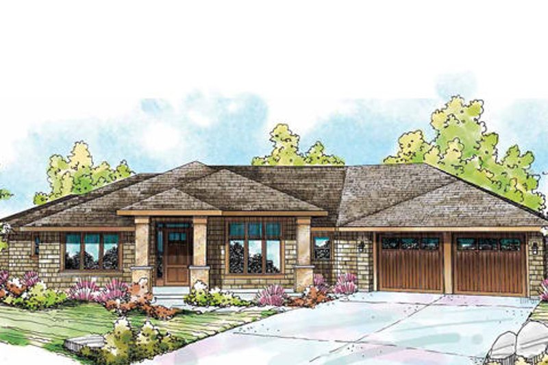 Prairie Exterior - Front Elevation Plan #124-841