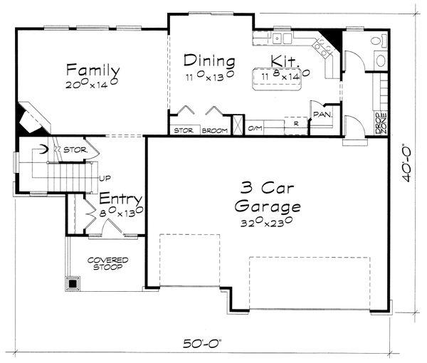 House Plan Design - Craftsman Floor Plan - Main Floor Plan #20-2400
