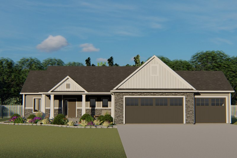 Architectural House Design - Craftsman Exterior - Front Elevation Plan #1064-39