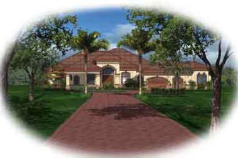Mediterranean Style House Plan - 3 Beds 4 Baths 4058 Sq/Ft Plan #27-290 Exterior - Front Elevation