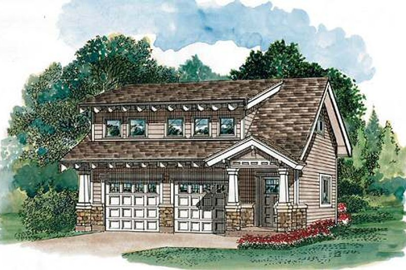 House Blueprint - Bungalow Exterior - Front Elevation Plan #47-515
