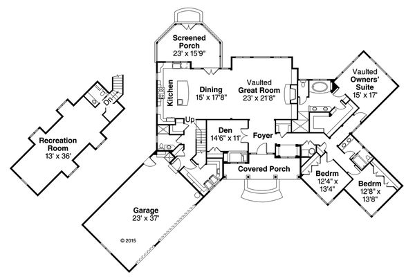 Country Floor Plan - Main Floor Plan Plan #124-1010