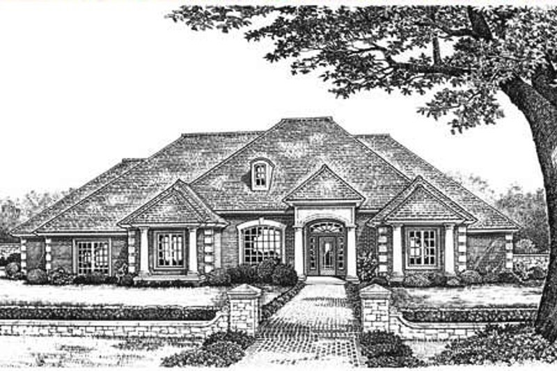 European Exterior - Front Elevation Plan #310-638 - Houseplans.com