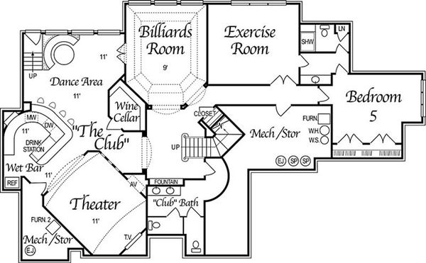 European Style House Plan - 5 Beds 6 Baths 6799 Sq/Ft Plan #458-4 Floor Plan - Lower Floor Plan