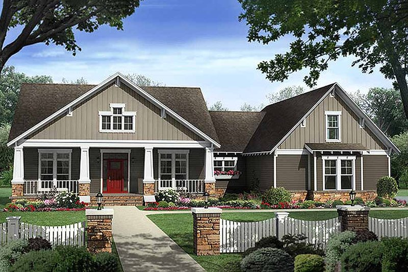 Craftsman Style House Plan - 4 Beds 2.5 Baths 2400 Sq/Ft Plan #21-295 Exterior - Front Elevation