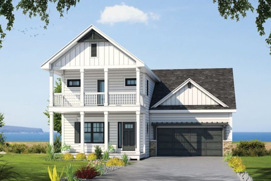 House Blueprint - Beach Exterior - Front Elevation Plan #20-2426