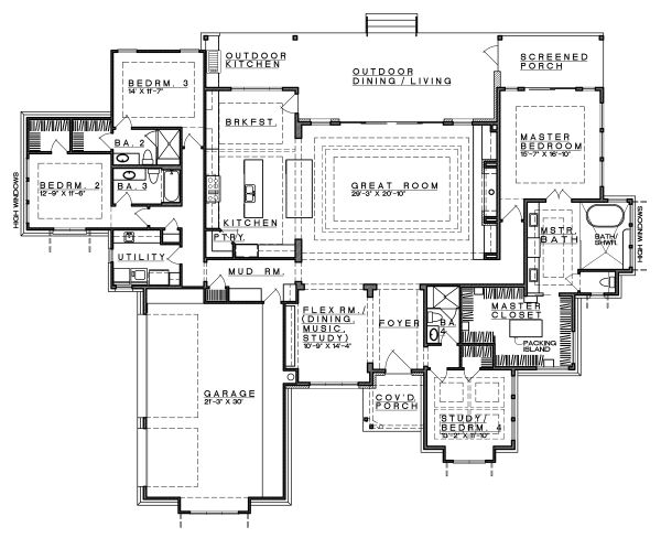 Architectural House Design - Contemporary Floor Plan - Main Floor Plan #935-18