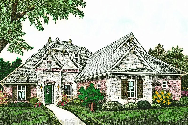 European Style House Plan - 4 Beds 3 Baths 2462 Sq/Ft Plan #310-1287 Exterior - Front Elevation