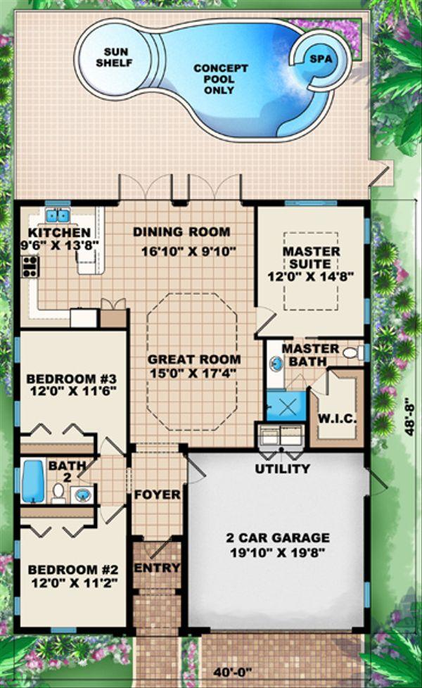 European Floor Plan - Main Floor Plan Plan #27-434