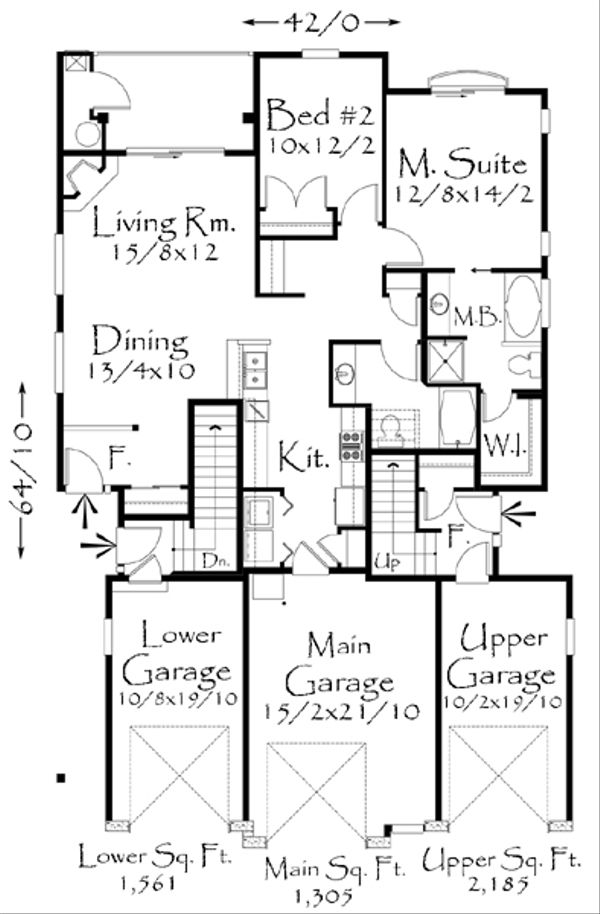 Tudor Style House Plan - 2 Beds 2 Baths 5051 Sq/Ft Plan #509-19 Floor Plan - Main Floor Plan