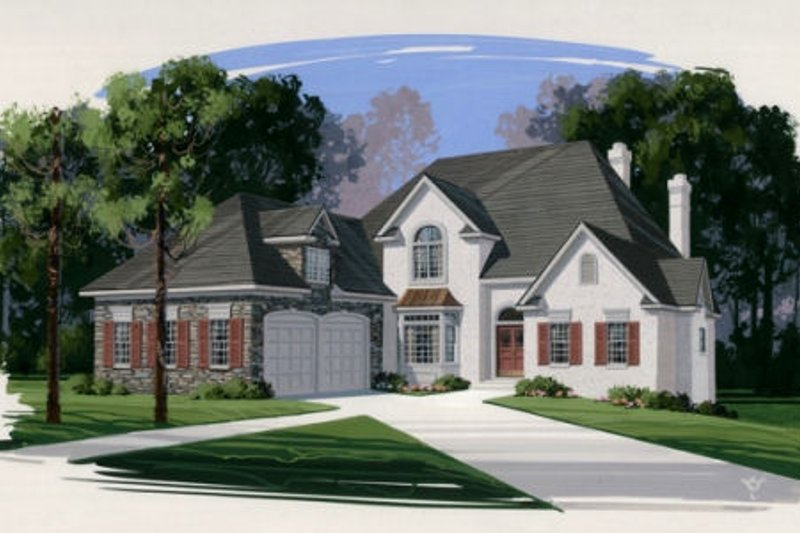 European Exterior - Front Elevation Plan #56-213
