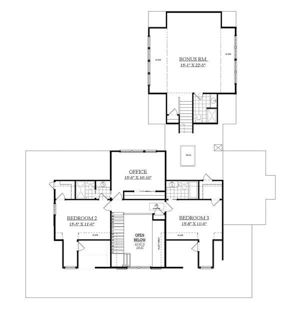 Country Floor Plan - Upper Floor Plan Plan #1071-10