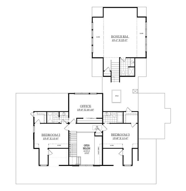 Country Floor Plan - Upper Floor Plan Plan #1071-10
