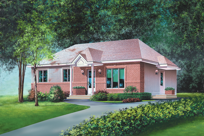 Classical Style House Plan - 3 Beds 1 Baths 1260 Sq/Ft Plan #25-4820 Exterior - Front Elevation