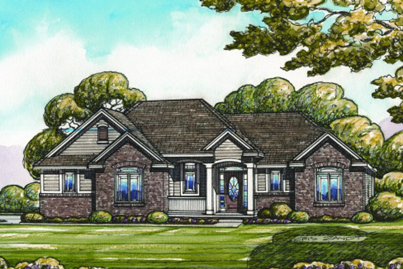 Traditional Style House Plan - 3 Beds 2 Baths 1672 Sq/Ft Plan #20-2096