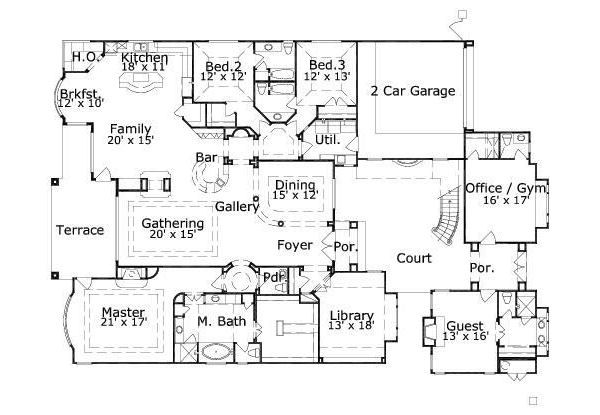 European Floor Plan - Main Floor Plan Plan #411-833