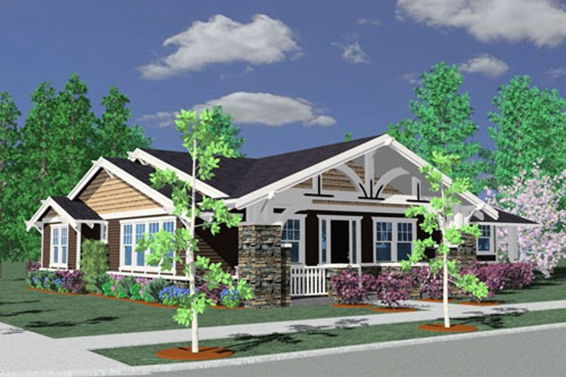 Craftsman Style House Plan - 3 Beds 2 Baths 1793 Sq/Ft Plan #509-41 Exterior - Front Elevation
