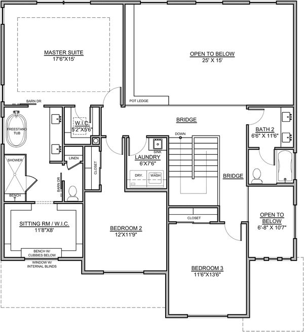Craftsman Floor Plan - Upper Floor Plan Plan #1073-16