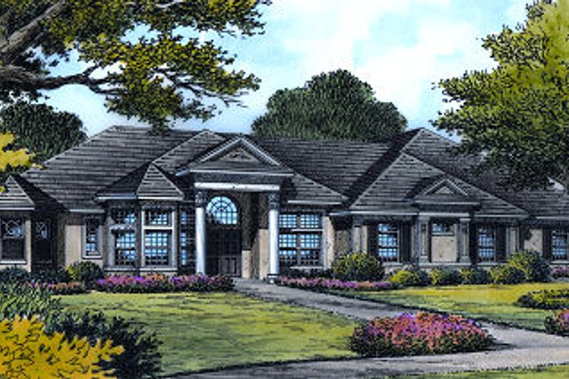 Dream House Plan - European Exterior - Front Elevation Plan #417-435