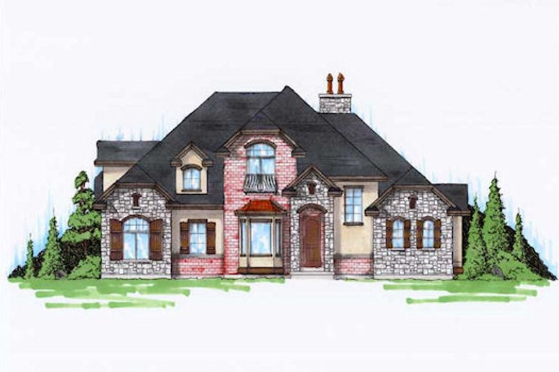 European Style House Plan - 5 Beds 3.5 Baths 2434 Sq/Ft Plan #5-372 Exterior - Front Elevation