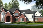 European Style House Plan - 4 Beds 4.5 Baths 4722 Sq/Ft Plan #97-212 Exterior - Front Elevation