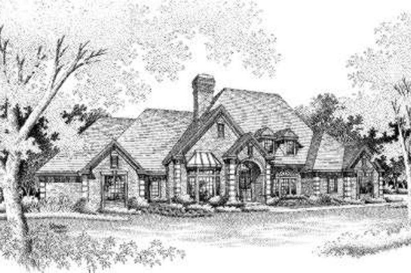 European Style House Plan - 4 Beds 3.5 Baths 3818 Sq/Ft Plan #310-216 Exterior - Front Elevation