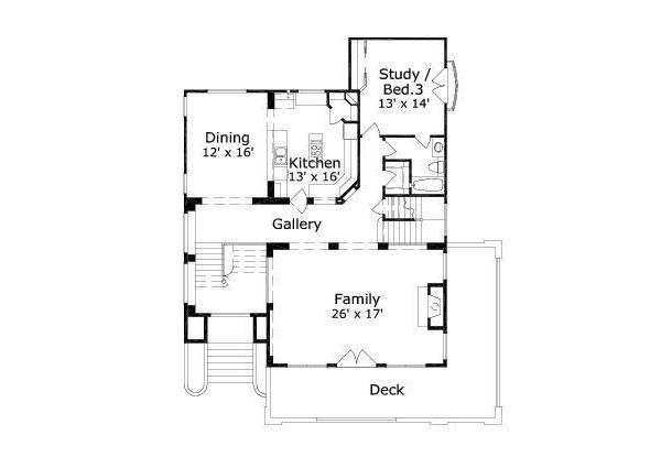 Mediterranean Floor Plan - Upper Floor Plan Plan #411-240