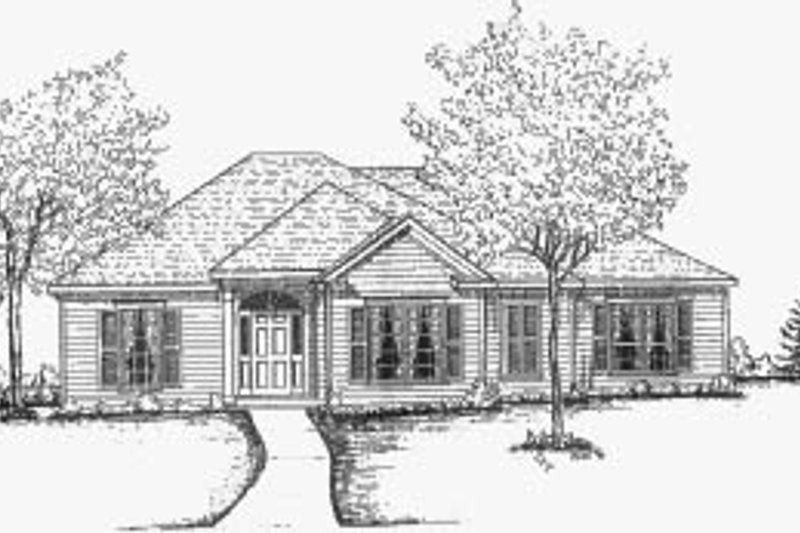 Traditional Style House Plan - 3 Beds 2 Baths 1642 Sq/Ft Plan #37-138 Exterior - Front Elevation