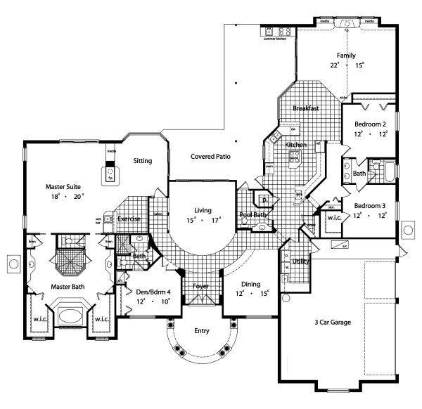 European Floor Plan - Main Floor Plan Plan #417-394
