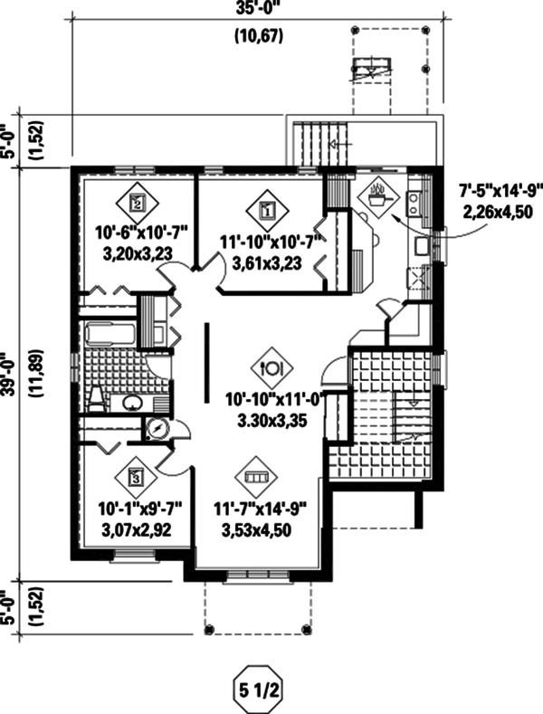 Contemporary Floor Plan - Lower Floor Plan Plan #25-4381