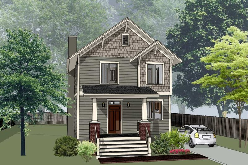 Dream House Plan - Craftsman Exterior - Front Elevation Plan #79-295