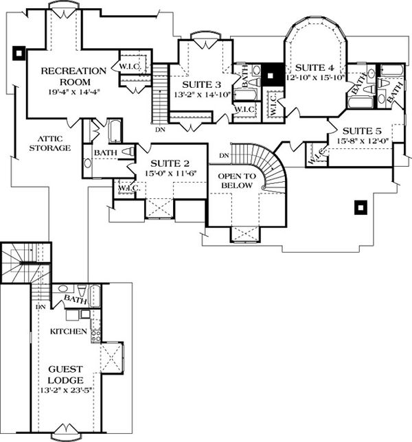 House Design - European Floor Plan - Upper Floor Plan #453-26