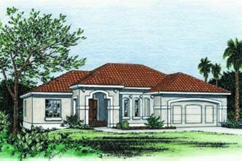 Mediterranean Exterior - Front Elevation Plan #20-648