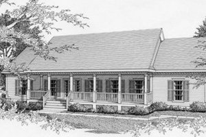 Southern Exterior - Front Elevation Plan #112-114