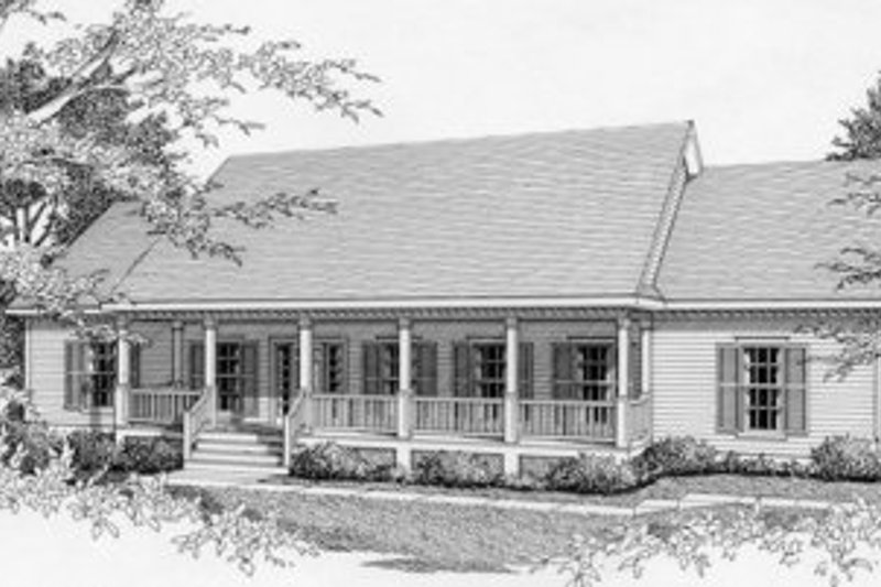 Southern Style House Plan - 3 Beds 2 Baths 1610 Sq/Ft Plan #112-114 Exterior - Front Elevation