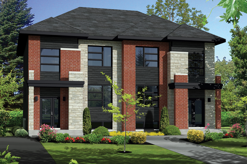 Contemporary Style House Plan - 6 Beds 2 Baths 2734 Sq/Ft Plan #25-4394 Exterior - Front Elevation
