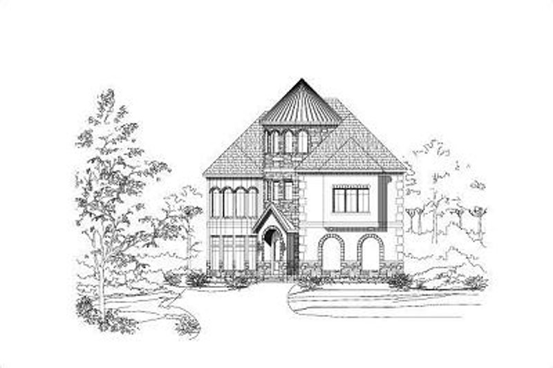European Style House Plan - 4 Beds 5.5 Baths 4214 Sq/Ft Plan #411-477 Exterior - Front Elevation