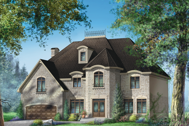 European Style House Plan - 5 Beds 2 Baths 4551 Sq/Ft Plan #25-4699 Exterior - Front Elevation
