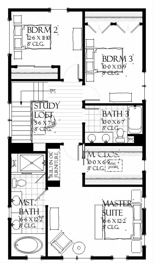 Farmhouse Floor Plan - Upper Floor Plan #901-136