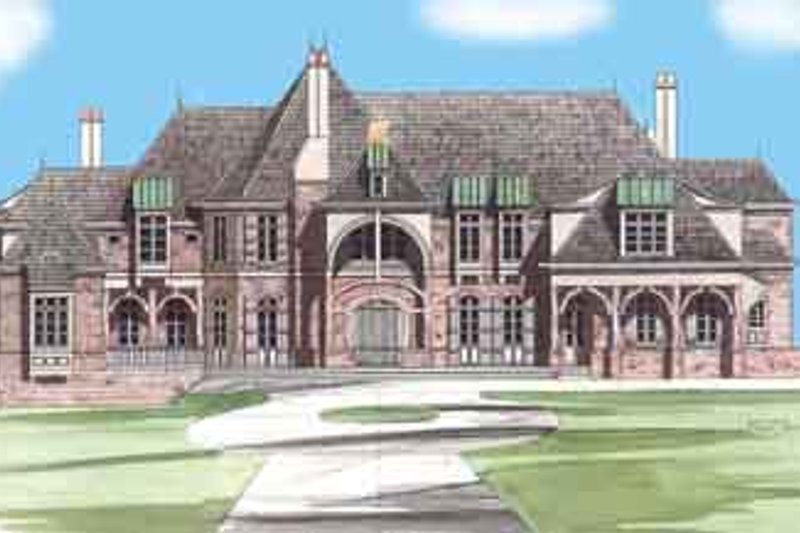European Style House Plan - 5 Beds 6.5 Baths 6712 Sq/Ft Plan #119-167 Exterior - Front Elevation