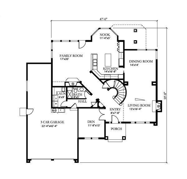 Craftsman Floor Plan - Main Floor Plan Plan #515-23