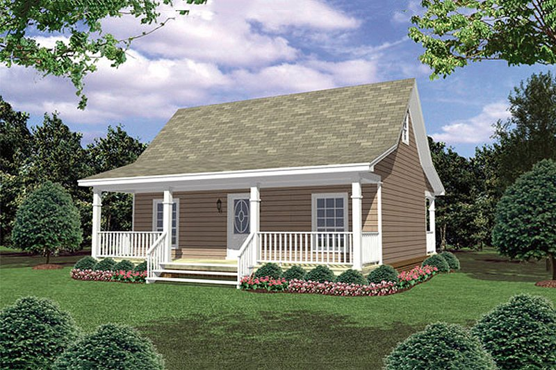 Country Style House Plan - 1 Beds 1 Baths 600 Sq/Ft Plan #21-206 Exterior - Front Elevation