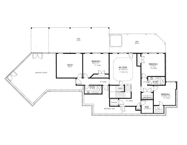Farmhouse Floor Plan - Lower Floor Plan Plan #437-93