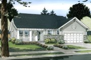 Ranch Style House Plan - 3 Beds 2.5 Baths 1625 Sq/Ft Plan #126-143 Exterior - Front Elevation