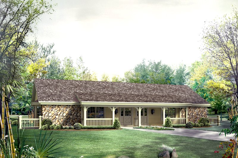 Home Plan - Country Exterior - Front Elevation Plan #57-682
