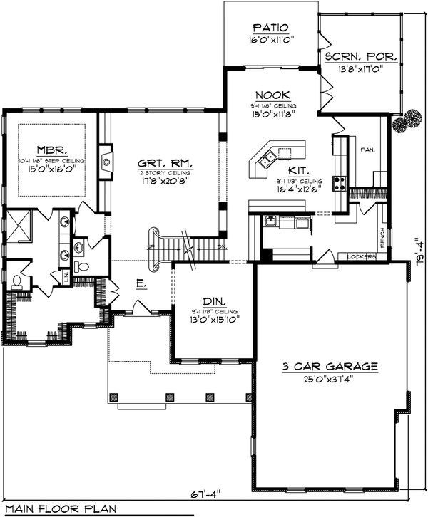 Traditional Floor Plan - Main Floor Plan Plan #70-1037