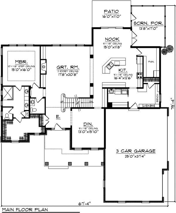 Traditional Floor Plan - Main Floor Plan Plan #70-1037