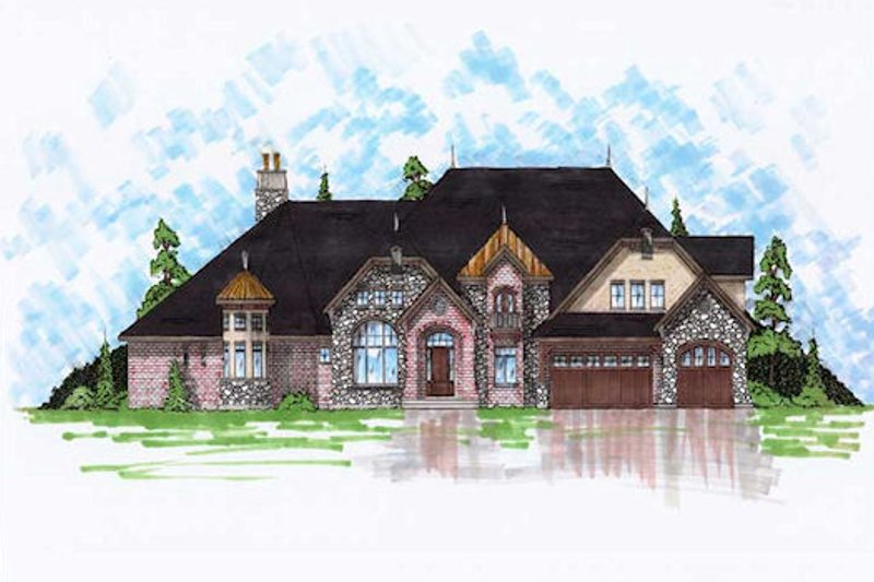 Home Plan - European Exterior - Front Elevation Plan #5-444