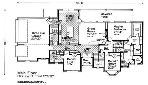 Country Floor Plan - Main Floor Plan Plan #310-1318