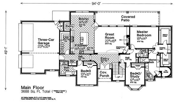 Country Floor Plan - Main Floor Plan #310-1318